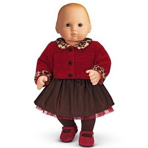 NIB Bitty Baby Chocolate Cherry Cardigan/Skirt Set